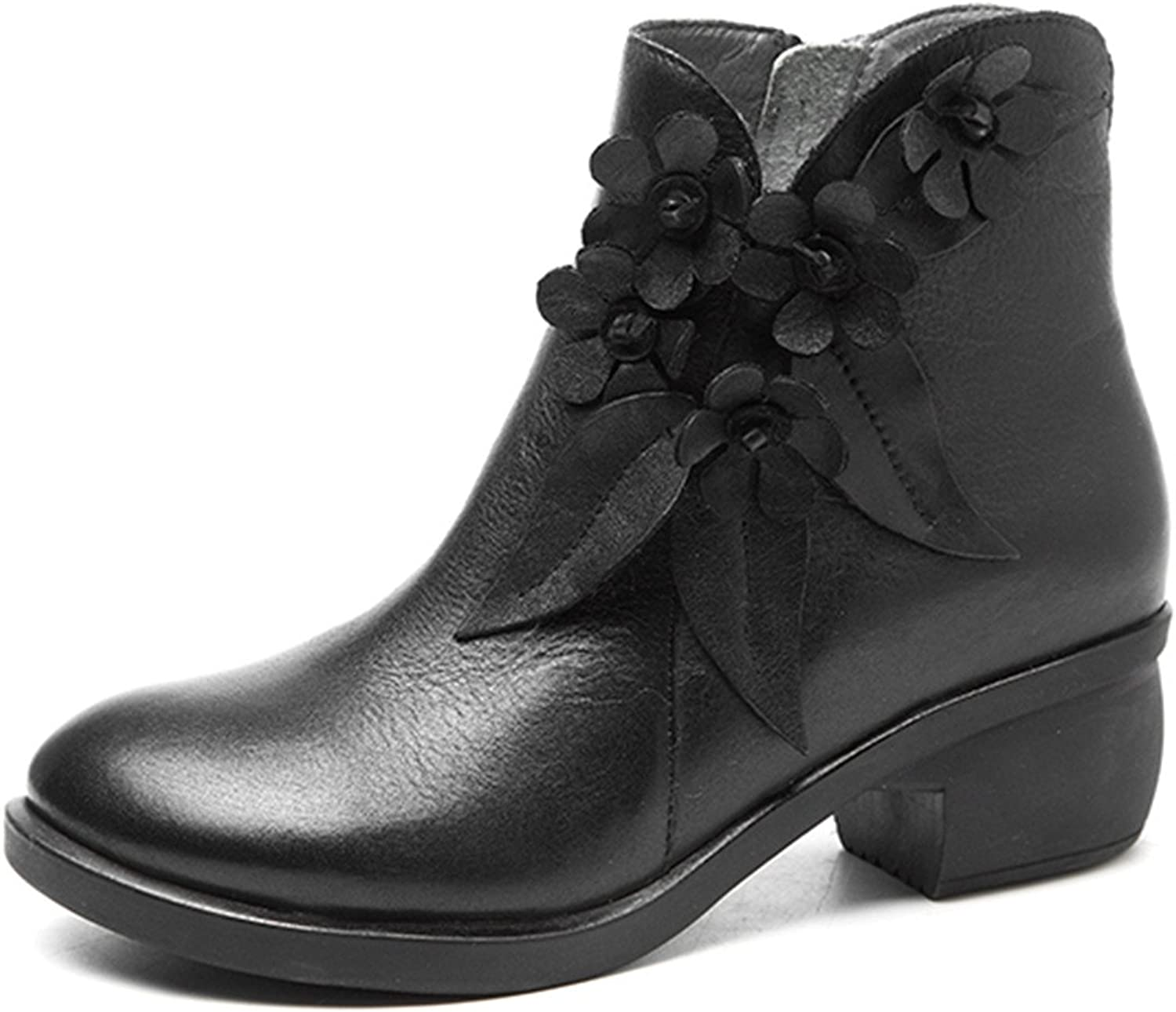 Socofy Leather Ankle Bootie, Women's Vintage Handmade Fashion Leather Boot pink Floral shoes Oxford Boots Black 9 B(M) US