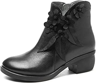Leather Ankle Bootie, Women's Vintage Handmade Fashion Leather Boot Rose Floral Shoes Oxford Boots