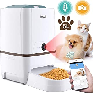 Isee biz 自動給餌器 猫 犬用 Iseebiz スマホで遠隔操作 カメラ付きペット自動餌やり機 5L大容量 1日6食まで タイマー式 アプリ対応 録音可 水洗い可能 ビデオカメラ 留守も安心オートペットフィーダー iOS Android対応 日本語対応アプリ 日本語説明書付 ホワイト