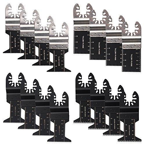 oxoxo hojas de herramientas hoja de sierra oscilante multiherramienta Fit Kit de accesorios para Dewalt, Dremel Multi-Max, Fein Multimaster, Genesis, Hardin, Makita, Milwaukee, pack de 16