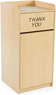 Displays2go 36 Gallon Restaurant Trash Can with Hinged Door, Tray Holder with Thank You Message (LCKDPZTRMP)