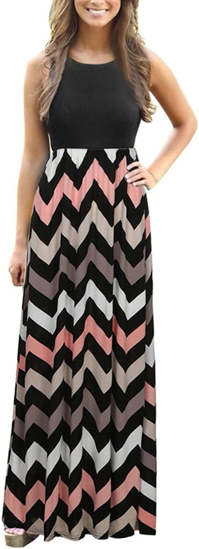 Aniwood Maxi Dresses for Women, Women's Short Sleeve Striped Tunic Casual Maxi Long Dress with Pockets Beach Sundress