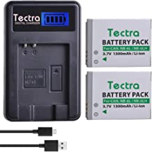 Tectra 2Pcs NB-6LH Battery as NB-6L Battery and LCD Display USB Charger for Canon Powershot D10, D20, D30, S90, S95, S120, SD770 is, SD980 is, SD1200 is, SD1300 is, SD3500 is, SD4000 is, SX240 HS