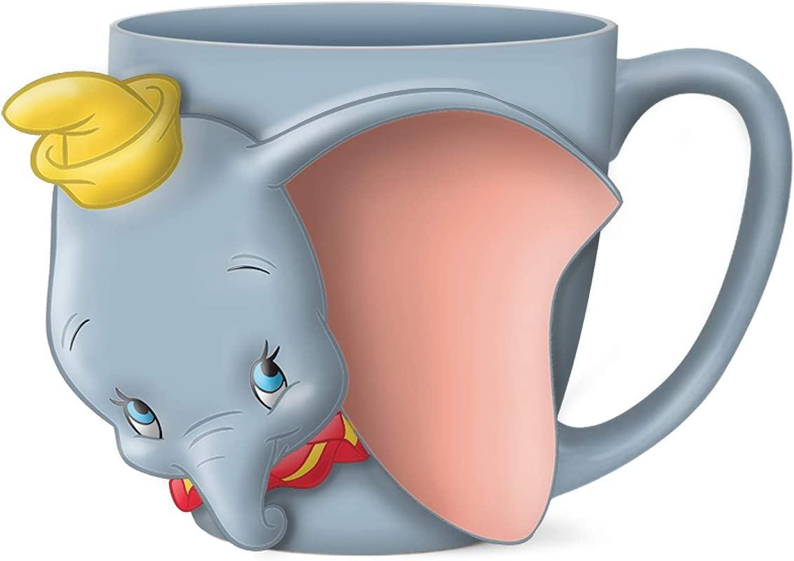 Silver Buffalo DIS3103D Disney Dumbo Face Ceramic 3D Sculpted Mug 23 Ounces Blue