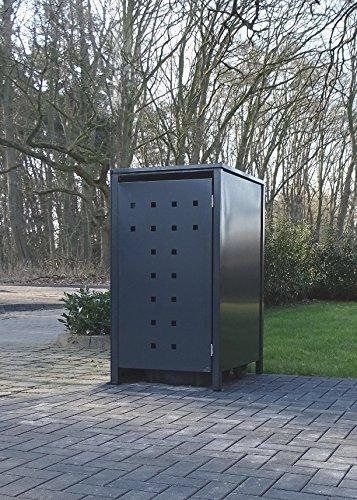 1 Mülltonnenbox Modell No.7 für 240 Liter Mülltonnen / komplett Anthrazit RAL 7016 / witterungsbeständig durch Pulverbeschichtung / mit Klappdeckel und Fronttür