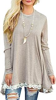 Afibi Women Lace Long Sleeve A-line Swing T-Shirt Loose Tunic Top Blouse
