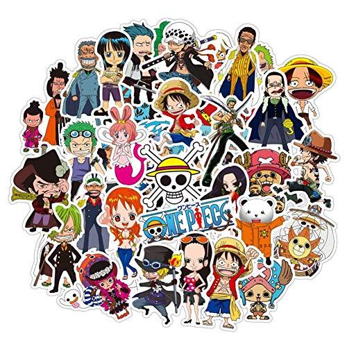KroY PecoeD 50 Piezas One Piece PVC Pegatinas Juego, Anime Parachoques Pegatinas para Portátil Equipaje Coche Monopatín Maleta Funda y Más - Estilo 02-48 Piezas