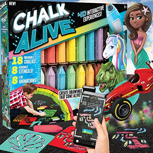 Chalk Alive by Horizon Group USA, Augmented Reality Chalk Art, Watch Your Drawings Come Alive. Includes, 18 Interactive Chalks, 8 Reusable Stencils.