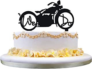 Motorcycle Wedding Cake Topper with We Do