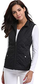 Womens Lightweight Quilted Vest Zip up Stand Collar Padded Gilet Sleeveless Jackets with Zipper Pockets