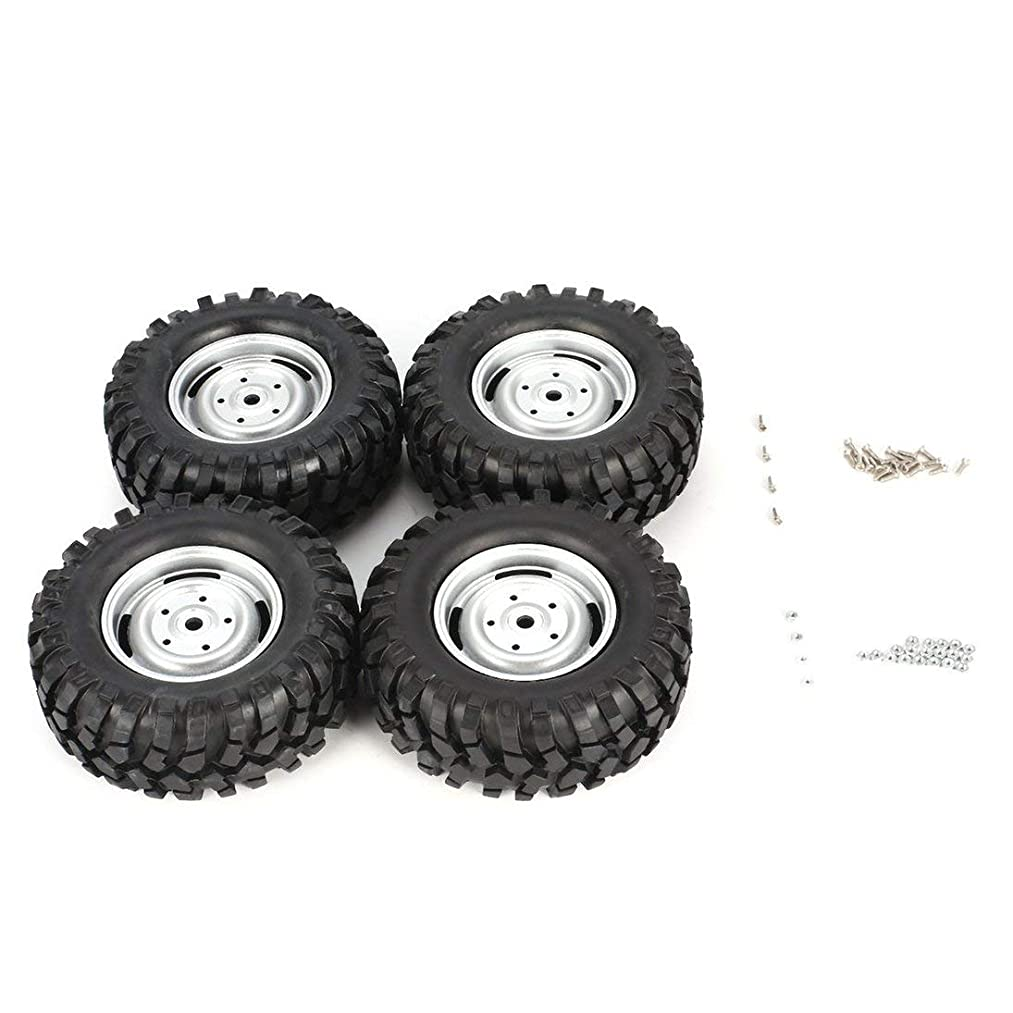 Baynne 4Pcs 100mm Wheel Rim Tires Compatible for 1/10 Truck Racing RC Car Accessories