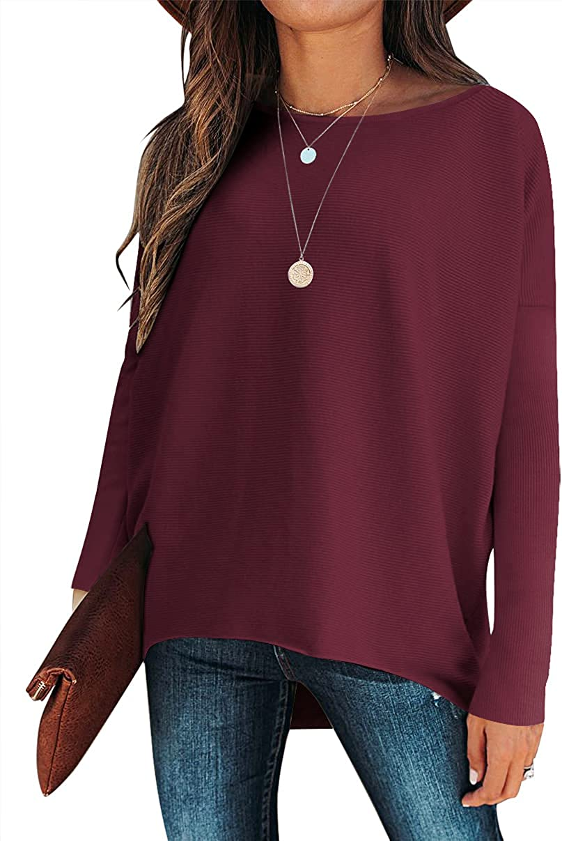 Caracilia Women's Off Shoulder Long Batwing Sleeve Oversized Pullover Knit Jumper High Low Dolman Tunic Sweaters Tops