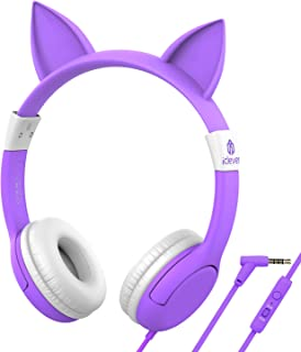 [Upgrade] iClever Boostcare Kids Headphones, Cat Ear Hello Kitty Headphones for Kids on Ear for Boys Girls, Adjustable 85/94dB Volume Control, Childrens Headphones with MIC for School/Tablet, Purple