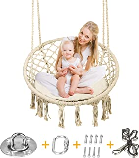 Hammock Swing Chair Macrame with Sitting Cushion and Metal Hanging Hardwear Tool Kits, Indoor Bedroom or Outdoor Patio Swing Seat with Back Support, for Both Adults and Kids