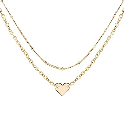 MT1WM Rose Gold Heart Choker Necklace Set - Sim...