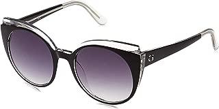 Guess 19307211 Oval Sunglasses GU759103B53 Black/Crystal/Gradient Smoke for Women