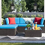Devoko 5 Pieces Patio Furniture Sets All-Weather Outdoor Sectional Sofa Manual Weaving Wicker Rattan Patio Conversation Set with Cushion and Glass Table (Blue)