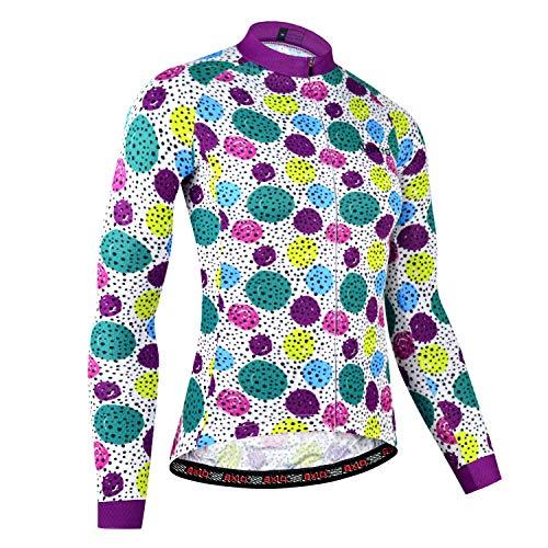 BXIO Ciclismo Jersey Manga Larga para Mujer, Ropa Deportiva Antideslizante Antideslizante Ciclismo Mujer Bicicleta Desgaste (Multi Color(176), M)