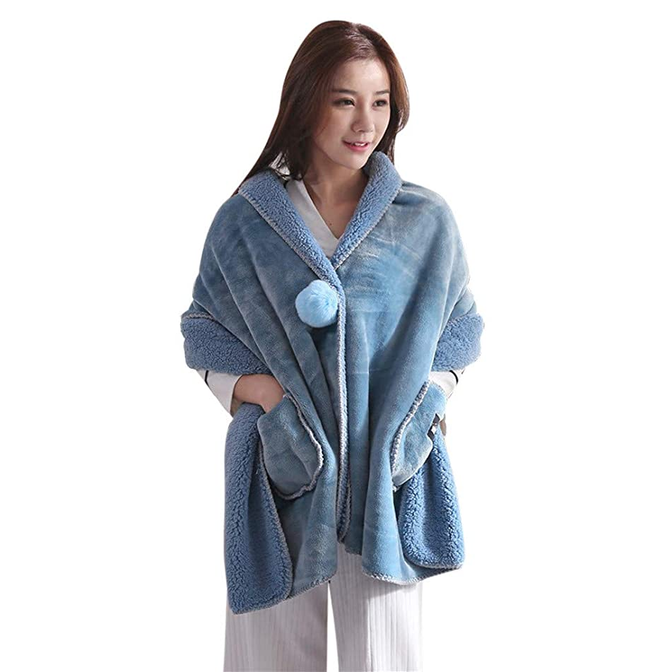 Women Winter Warm Shawl Soft Flannel Wearable Lazy Shawl Blanket with Button Thick Warm Winter Scarf Wrap (E)