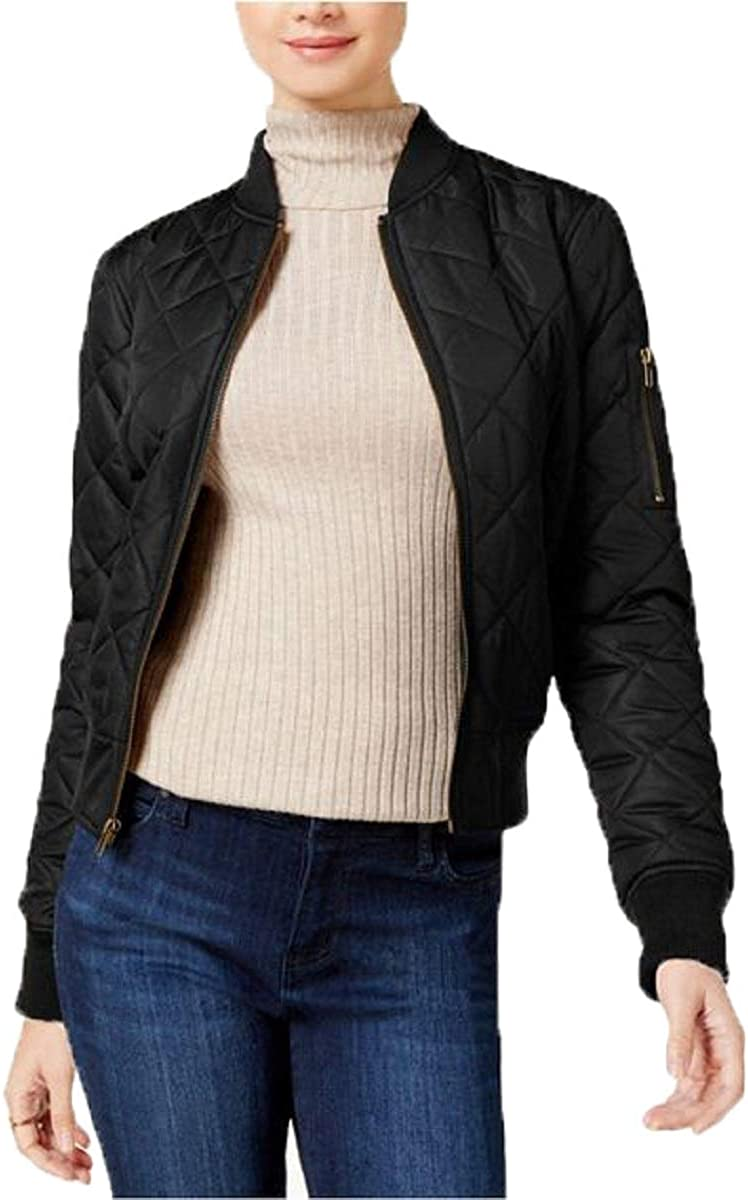 Maralyn & Me Juniors' Diamond-Quilted Cire Bomber Jacket