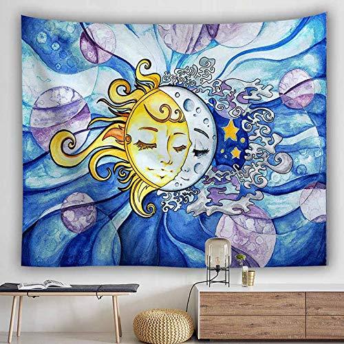 Psychedelic Tarot Card Sun Moon Tapiz Fondo para colgar en la pared Tapiz de pared decorativo Tapiz de tela de pared retro A4 180x230cm