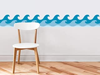 Sunny Decals Wave Wall Border Fabric Wall Decal-Set of 2, 7.8
