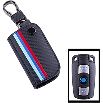 Car Remote Key Pouch Bag with Key Rings Kit Keychain Holder Metal Hook Black RoyalFox Genuine Leather 3 Buttons Key Fob case Cover for BMW 3 BMW 5 BMW 6 Series,BMW M3 M5 X1 X5 X6 Z4