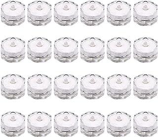 24 قطعة من مصابيح الشموع المقاومة للماء من Mobestech مصباح غاطسة لتزيين بركة السباحة والنافورة (زهرة البرقوق، أبيض)