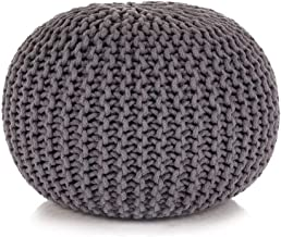 vidaXL Hand-Knitted Pouffe Living Room Bedroom Foot Rest Stool Seat Ottoman Furniture Cotton 50x35cm Grey