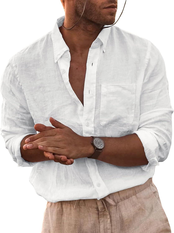 Lakimani Mens Long Sleeve High quality new Linen Shirt San Diego Mall Loose Fit Lightweig Summer