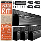 J Channel Cable Raceway Kit - Computer Desk Cable Management System - 4x16'' Black Under Table Cable Management Trays for Office and Home