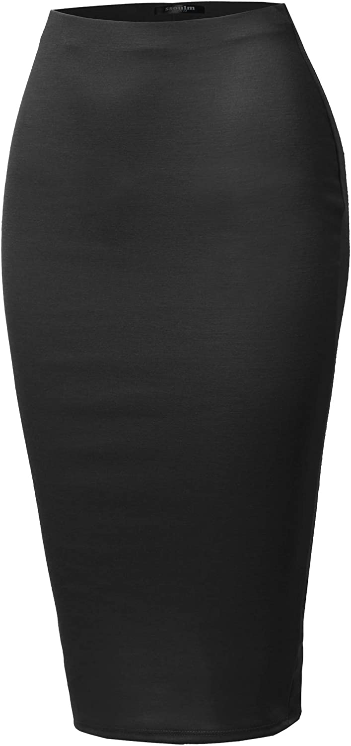 SSOULM Women's Work Office Stretchy Fitted Midi Pencil Skirt with Back Slit and Plus SizeBLACK XL