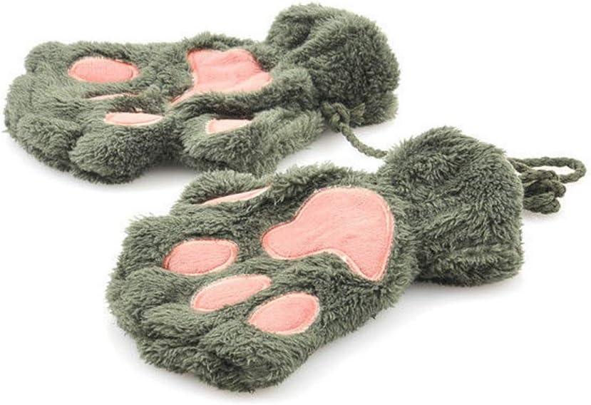 JEONSWOD Winter Warm Fingerless Gloves Women Girls Lovely Mittens Fluffy Bear Cat Plush Paw Claw Cute Half Finger Gloves 1 Pair (Color : B)