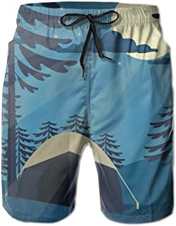 Lixinli Men's Forest Moon Camper Quick Dry Beach Shorts