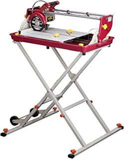 7 inch Bridge Tile Saw 1.5 HP with Miter Gauge and Splash Guard; Cuts masonry up to 20 in. long, 14 in. diagonal
