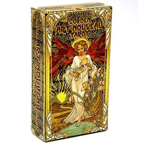 GGSDDDUP Goldene Art Nouveau Tarot 78-Card mit Reisehandbuch, Oracle-Karten, Tarot-Karten Deck, Brettspiel, Der Weg zur Wahrheit und Heilung