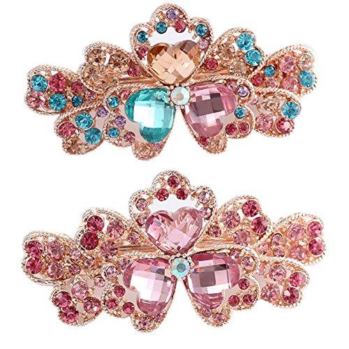 Pinces à cheveux à la mode de filles avec fleur de Tri-pétalo de diamant, 2 PC, rose / coloré