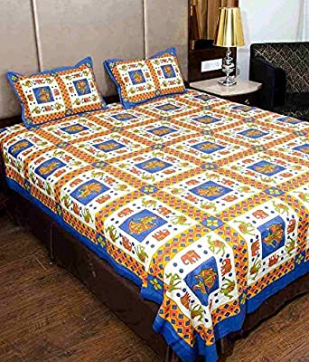 UniqChoice Rajasthani Traditional Print 120 TC 100% Cotton Double Bedsheet with 2 Pillow Cover,Blue(UCEBD464)