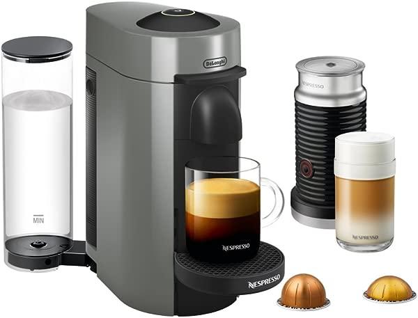 Nespresso ENV150GYAE VertuoPlus Coffee And Espresso Machine Bundle With Aeroccino Milk Frother By De Longhi Graphite Metal