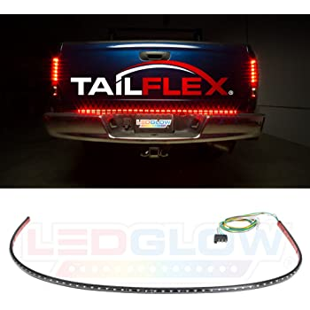 "LEDGlow 60"" Red TailFlex Tailgate LED Light Bar with White Reverse Lights for Full Size Trucks - Brake, Running, Turn Signals & Hazard Lights - Flexible Waterproof Strip - Flat 4 Pin Connector"