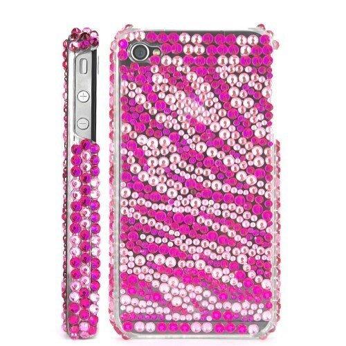 Terminal shell perles rose rouge de zèbre rayé de protection de couverture de cas de Shell Case pour Apple iPhone 4 4S femmes femme fille Cas de téléphone brillant
