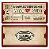 Einladungskarten zur Hochzeit (30 Stück) als Eintrittskarte Vintage Herz Retro Einladung Karte in Rot