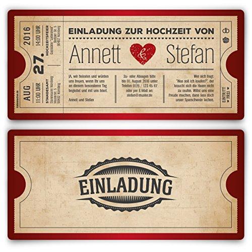 Einladungskarten zur Hochzeit (20 Stück) als Eintrittskarte Vintage Herz Retro Einladung Karte in Rot