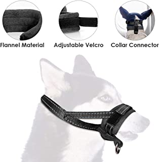 SlowTon Nylon Dog Muzzle, Adjustable Loop, Soft Flannel Padding, Comfortable Breathable Secure Quick Fit Muzzles (M, Black)
