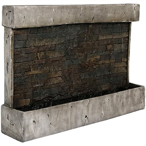 Sunnydaze Ancient Wall Fountain - Modern Indoor or Outdoor Wall Mount Waterfall - Garden & Backyard Hanging Water Fountain - 24 Inch