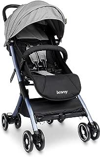besrey Airplane Baby Stroller Kids pram with Reclining Seat for Baby Sleep - Gray