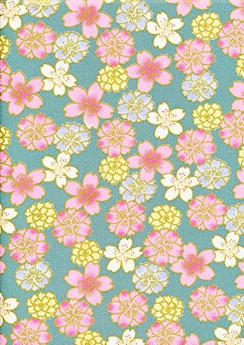 Jade/Sage Green – 1 Quarter Fat (48 cm x 55 cm) Gilded Japanese Oriental Floral 100% algodón Elegante Tela Oro Lámina Floral Cherry Blossom Impreso Costura Bolso de Colchar Proyectos