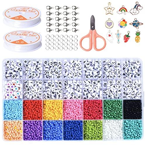 MEIRUIER Mini perle di vetro 3 mm fai da te per braccialetti e gioielli fai da te, set da 28 celle