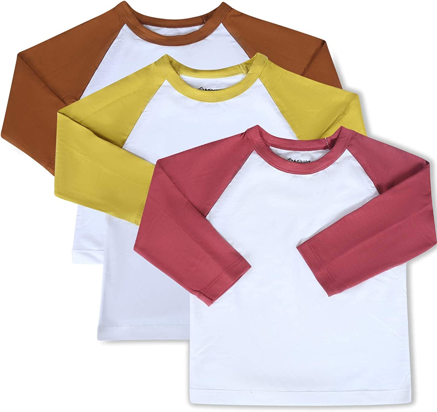 Agibaby 3-Pack| Toddler & Baby Boys & Girls Long Sleeve Raglan Baseball and Pocket T Shirts| Cotton