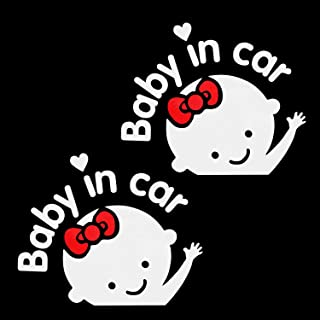 Aaron White Baby in Car Baby Safety Sign Car Sticker, Car Decal Sticker (2-Pack Girl)